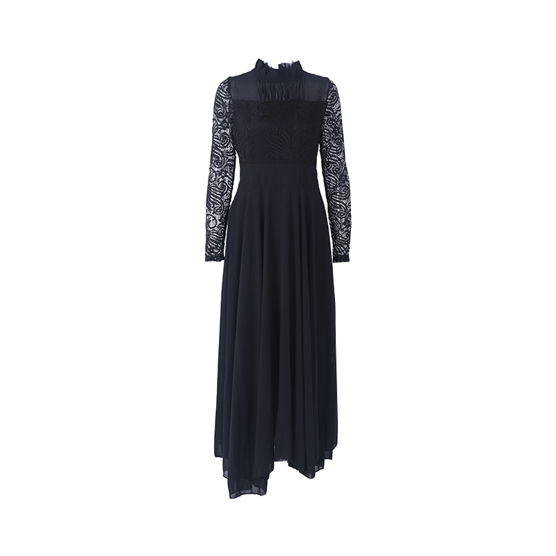 Pretty Solid Turtleneck Long-sleeve Lace Dress for Women