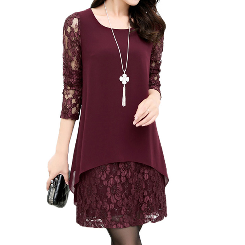 Faux-two Lace Stitching Dress for Women