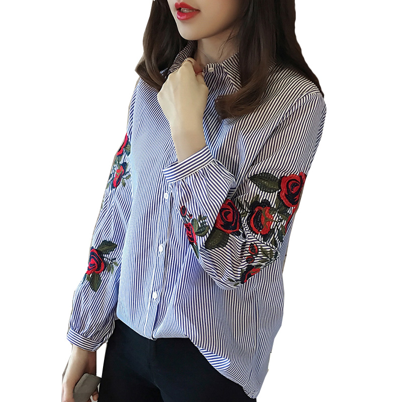 Casual Flower Embroidery Long-sleeve Shirt for Women