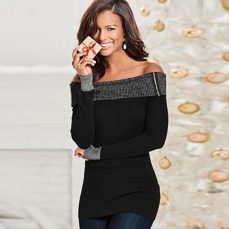 Sassy Off Shoulder Fitted Long-sleeve Top