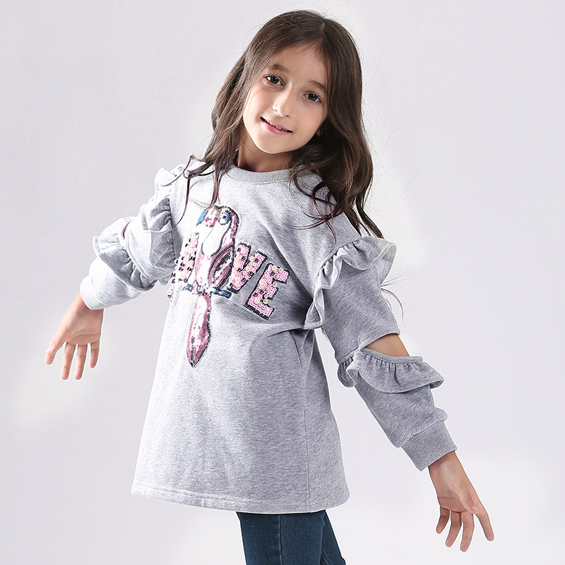 Stylish Sequined Parrot Hollow Out Ruffled Pullover for Girl