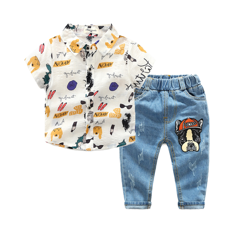 Fashionable Printed Short-sleeve Shirt and Jeans Set for Toddler Boys and Boys